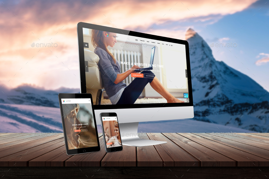 desk responsive screen mockup - rsplaneta - graphic design, Powerpoint templates